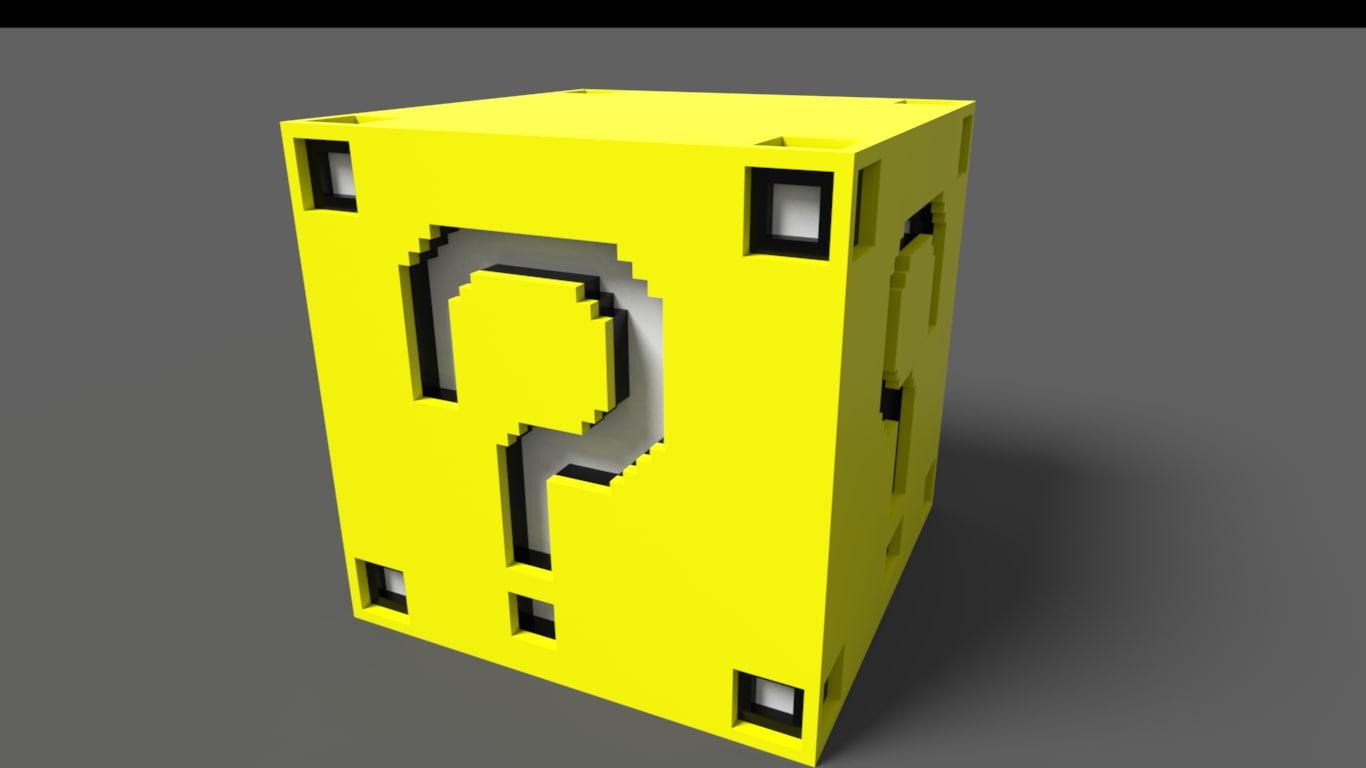 3d model of mario voxel box