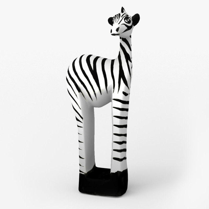 zebra wooden africa 3d model
