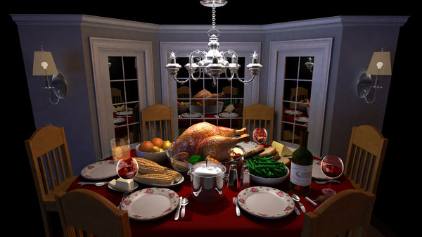 3d model cartoon dinner table