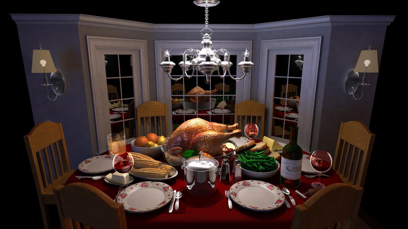 cartoon dinner table 3d ma
