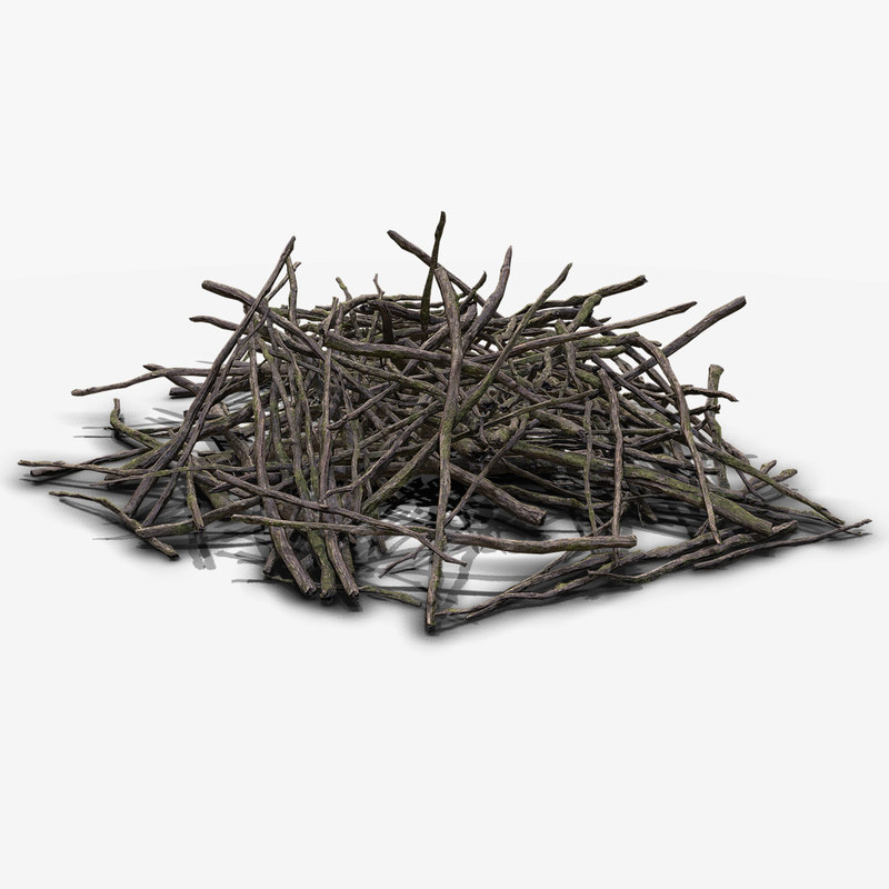 3d pile branches pbr model