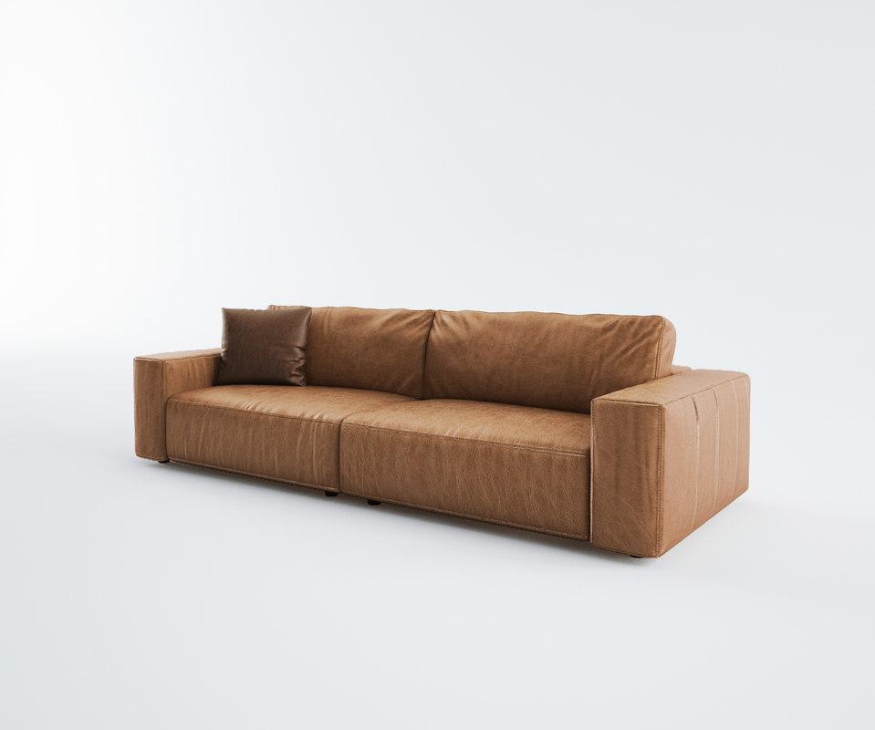 3d model tan leather sofa ready