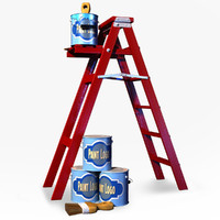 3d model ladder paint cans