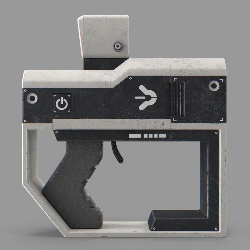 sci-fi gun 3d max