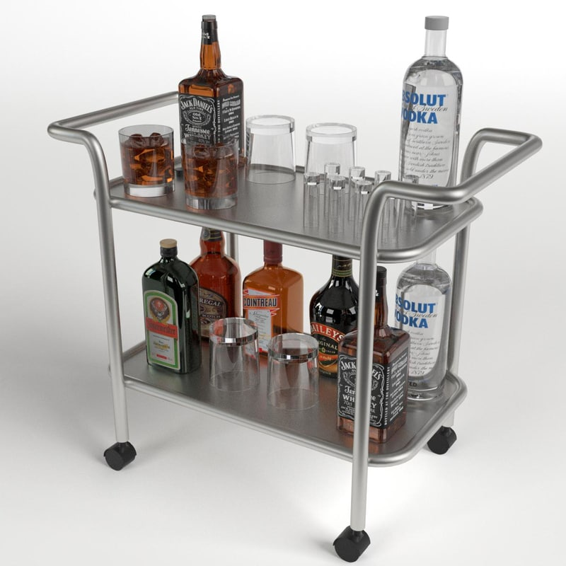 3d obj drinks trolley cart 1