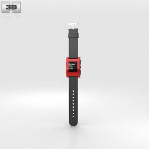pebble e-paper e 3d model