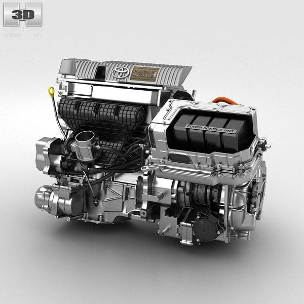 hybrid engine toyota 3d max