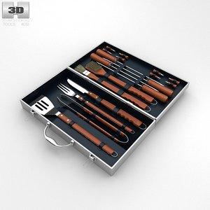 3d barbecue set model