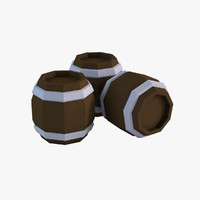 Cartoon Low Poly Barrels