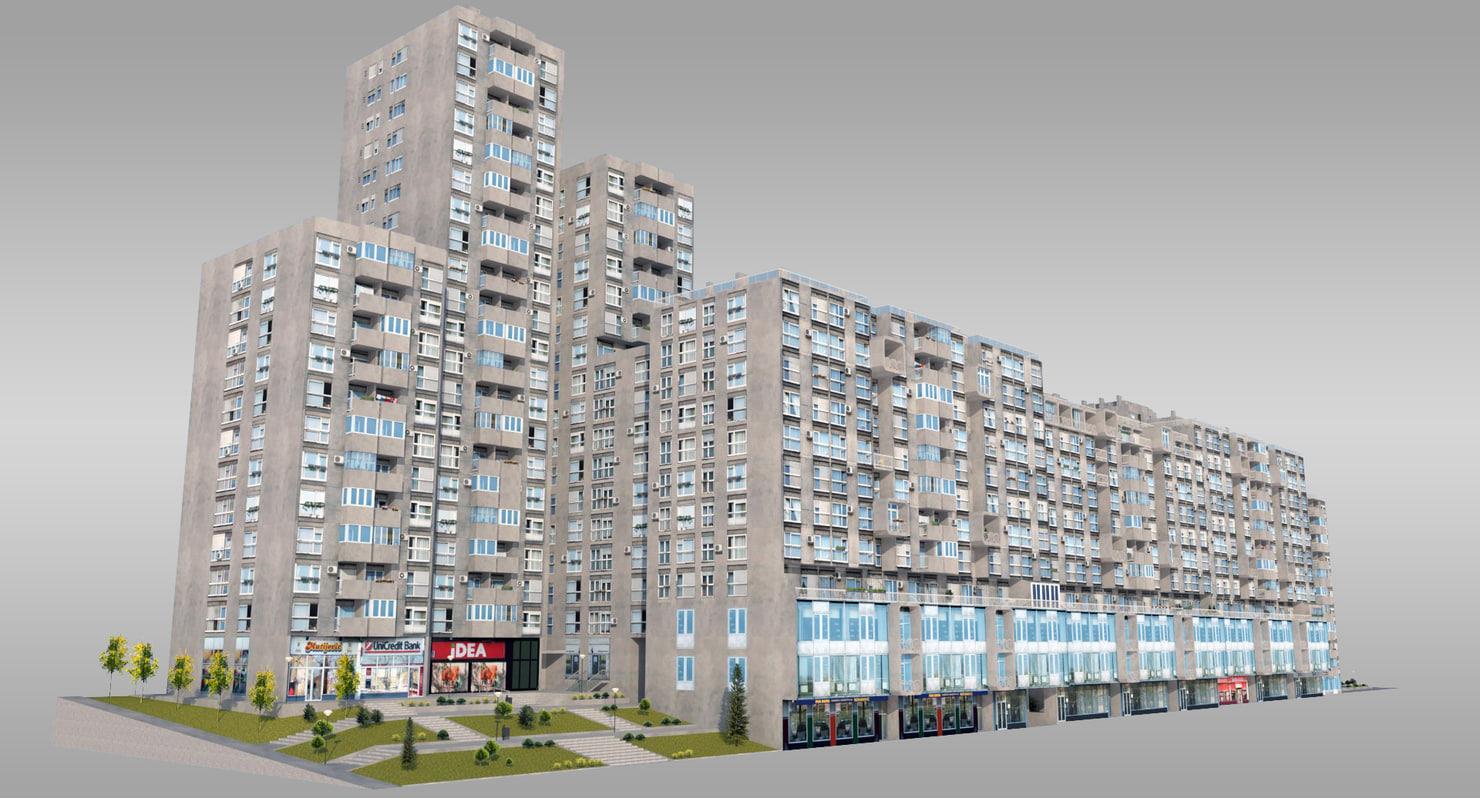 concrete complex residential 3d 3ds