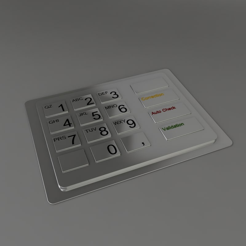 3d metal pin keyboard model