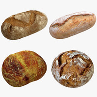 3d realistic bread set model