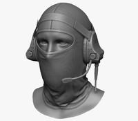 3d military head