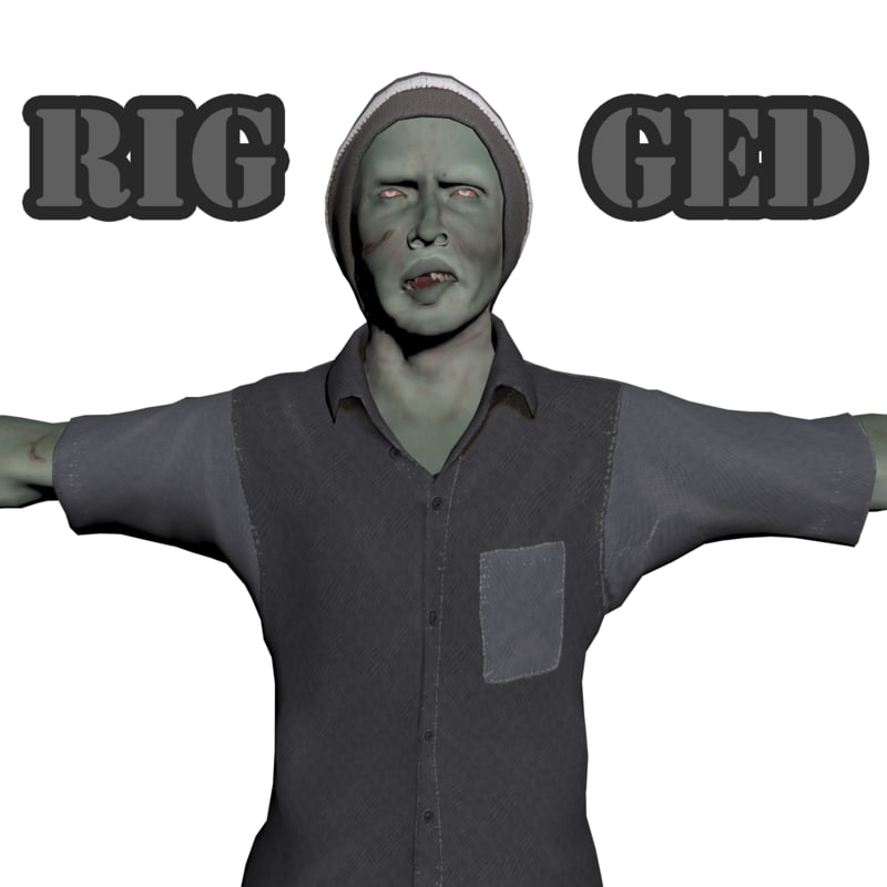 3d zombie character rigged