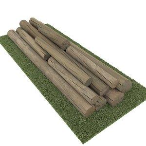 old logs 3d model