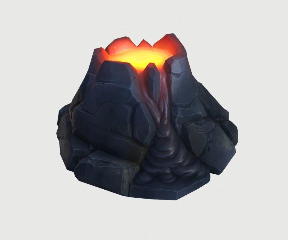 cartoon volcano fbx