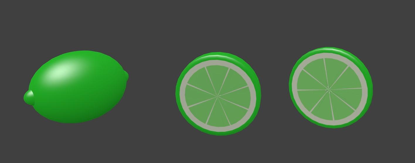 3d lime half slice