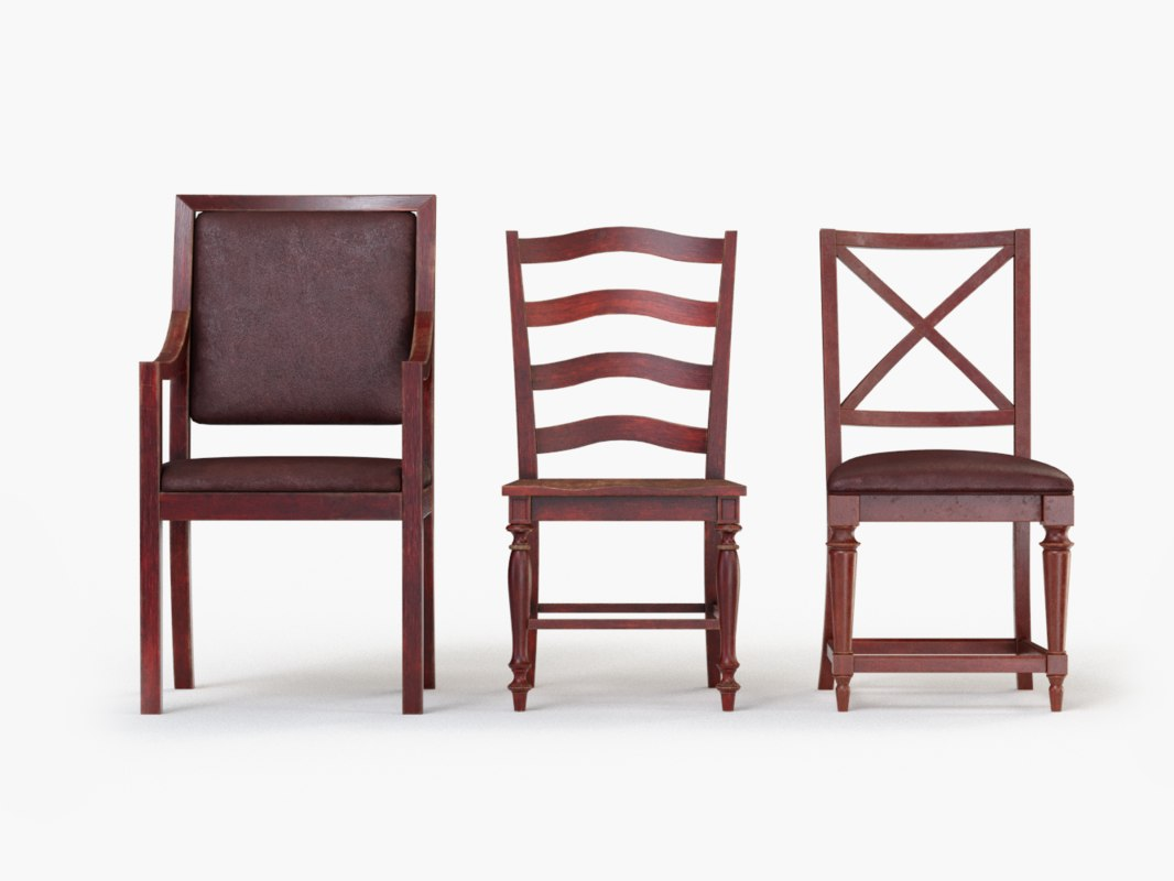 3d model wooden chairs collected