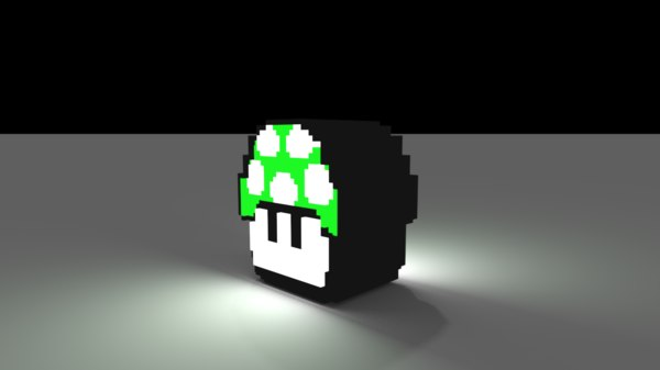 mario voxel mushroom 3d model