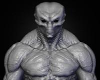 realistic aliens sculpt 3ds