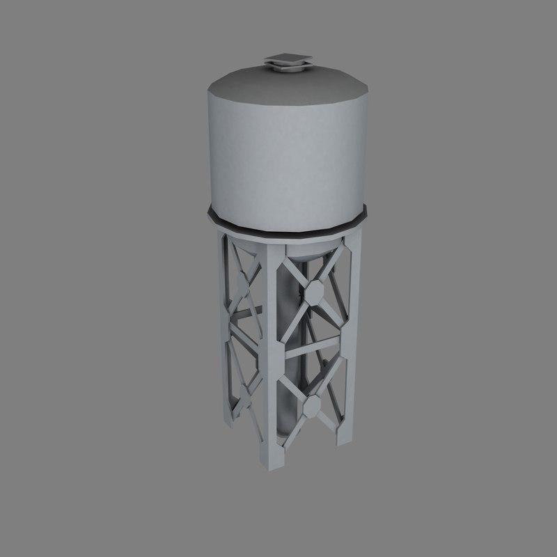 industrial water tower 3d model
