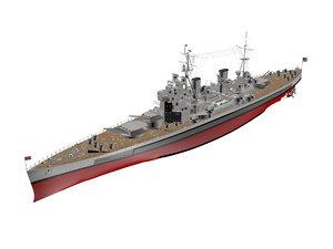 3d model king george battleship