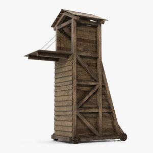 medieval siege tower 3d obj