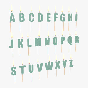 3d model alphabet birthday candles set