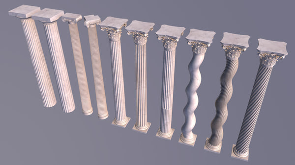 greek corinthian columns 3d 3ds