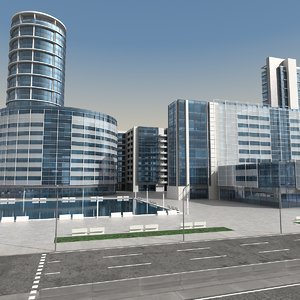 3d modern city buildings model