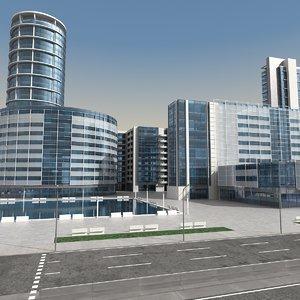 3d modern city buildings model