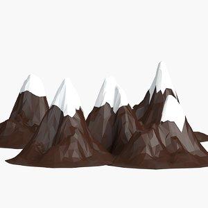 3d model cartoon mountains pack