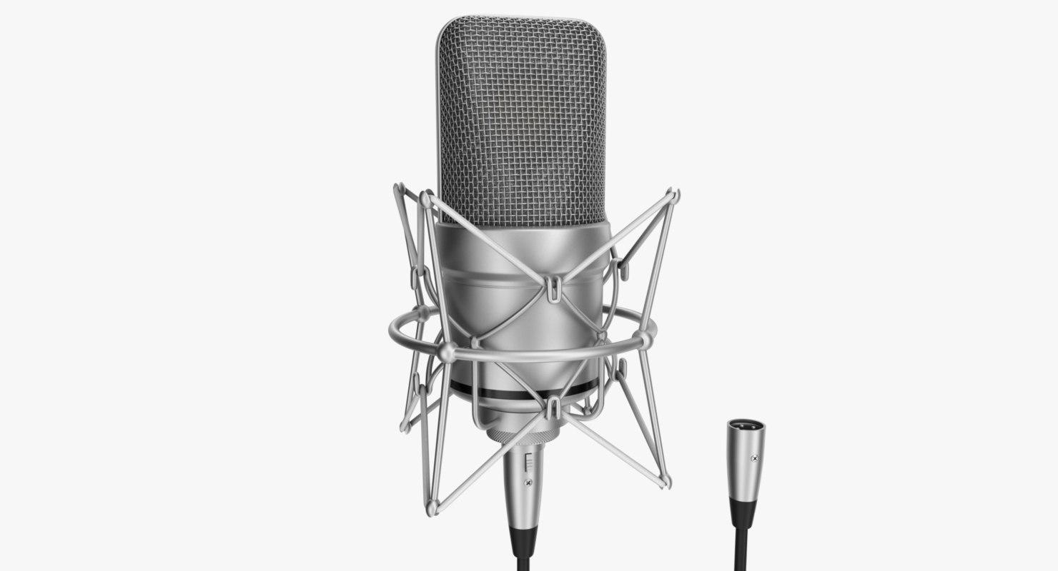 3d rigged microphone xlr model