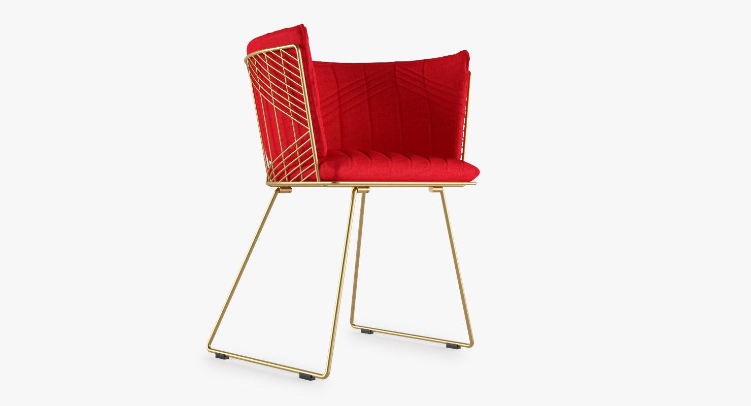 2 color captain chair 3d model