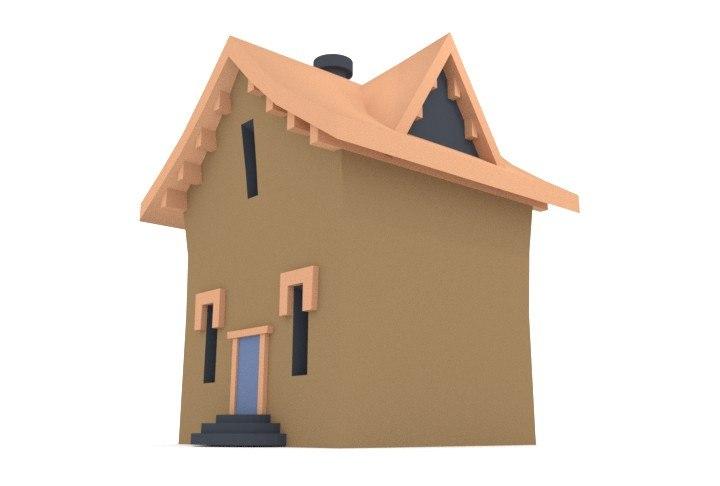 blender village house 3d obj