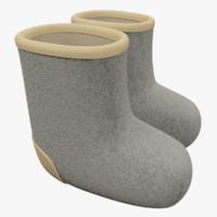 3d model cartoon felt boots