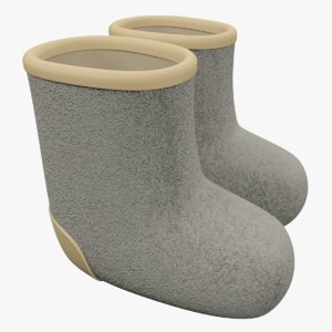 3d model cartoon felt boots