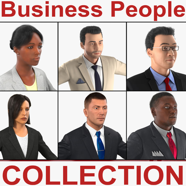3d business people businessman woman realistic model