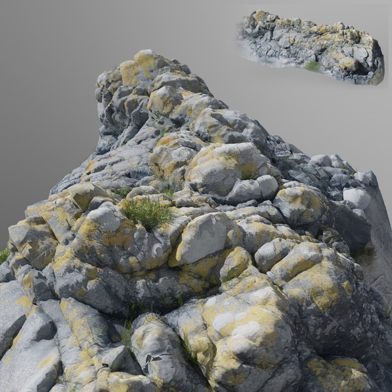 scanned stone cliff 001 3d max