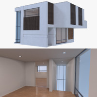 modern house interior 3d obj