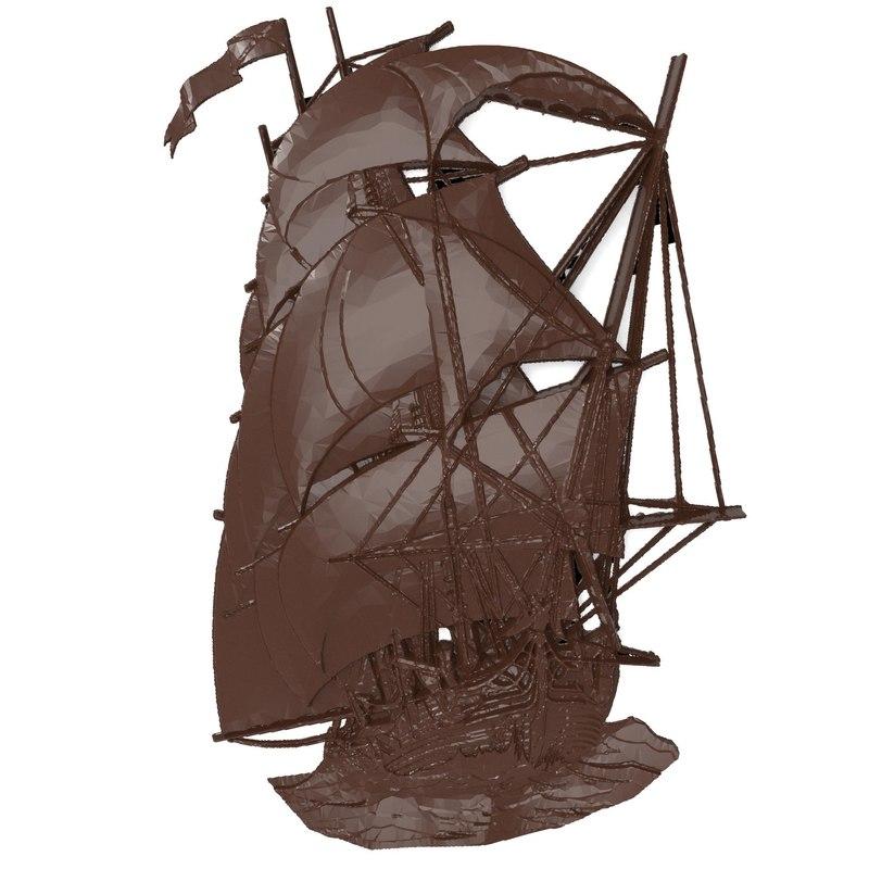 bas relief sailer cnc 3d model
