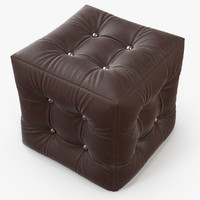 Pouf Burgundy Leather