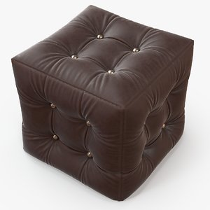 3d c4d pouf burgundy leather furniture