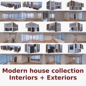 modern houses interior 3d obj