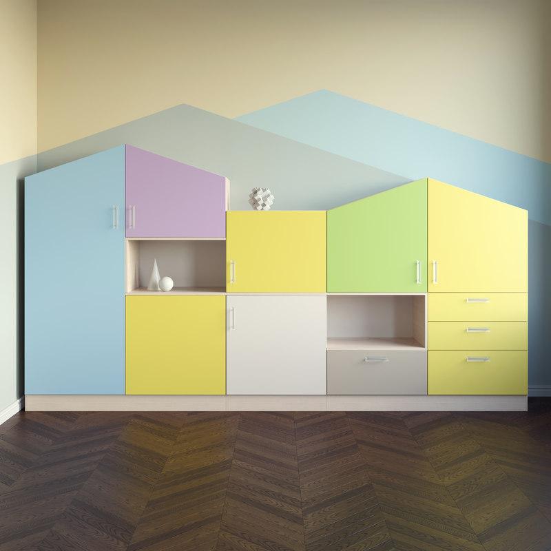 set cabinet childroom 3d max
