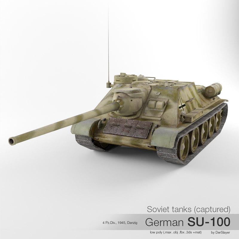 3d captured soviet su-100 tank destroyer model