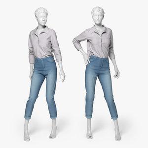 jeans shirt 3d model