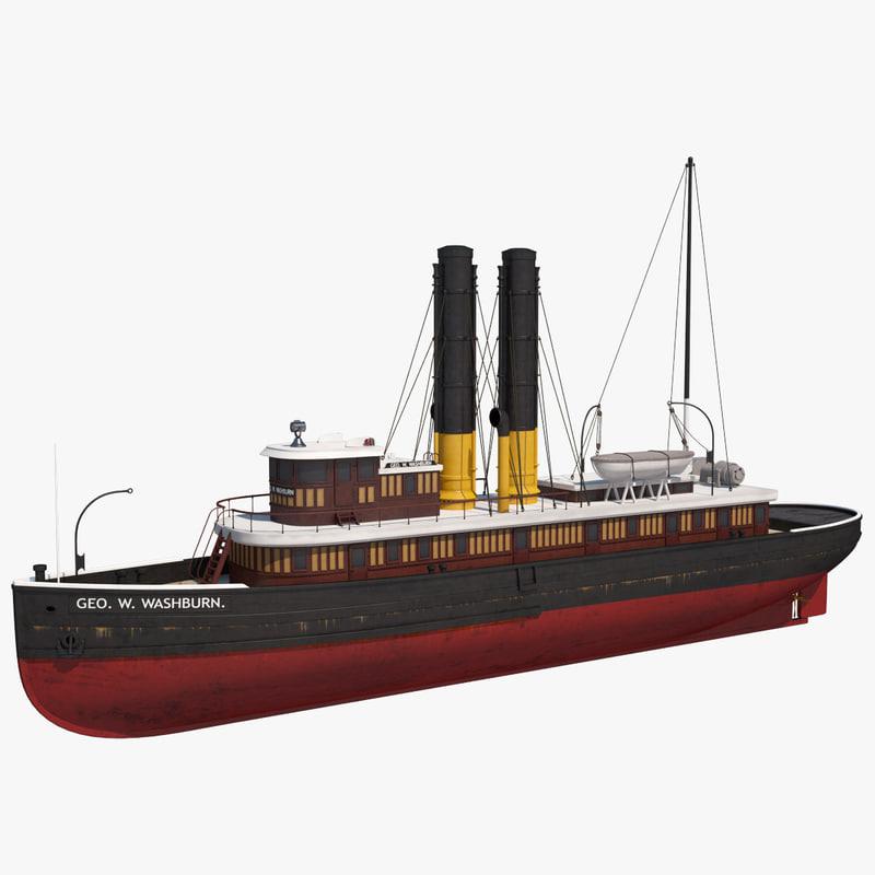 3d george washburn tugboat w model
