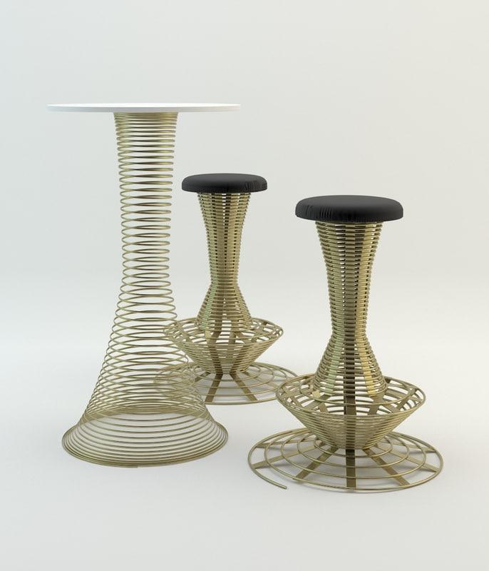 3d dxf helix bar stool table