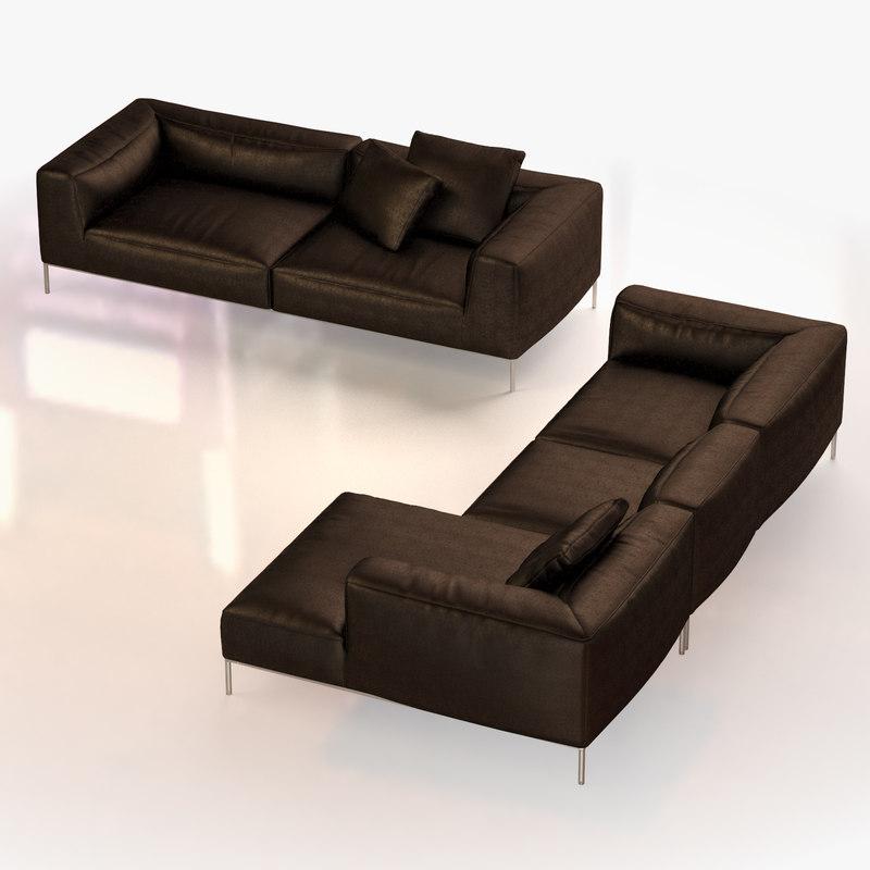 leather sofa set 3d max
